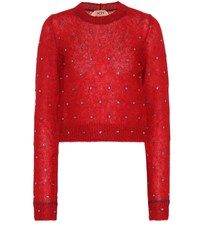 N 21 Embellished Mohair Blend Sweater Red
