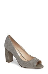 Nina Women's Farlyn Peep Toe Pump Steel Shine Metallic Fabric