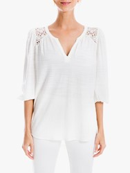 Max Studio 3 4 Sleeve Lace Insert Top White