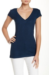Heather By Bordeaux Ribbed Tee Blue