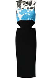 Tanya Taylor Connor Printed Cutout Jersey Dress Black