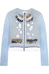 Peter Pilotto Solar Appliqued Corded Lace Jacket Blue