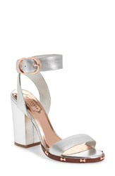 Ted Baker London Lylea Block Heel Sandal Silver Leather