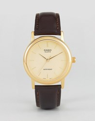Casio Brown Leather Strap Watch Mtp1095q 9A Brown
