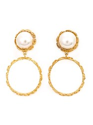 Chanel Vintage Faux Pearl Clip On Earrings Yellow And Orange