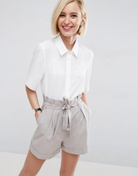 Asos Crop Blouse With Short Sleeves Ivory White