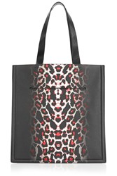 Mcq By Alexander Mcqueen Printed Textured Leather Tote Black