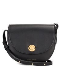 Mansur Gavriel Saddle Leather Shoulder Bag Black