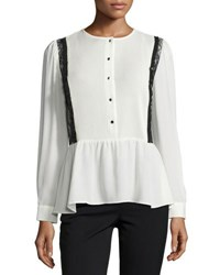 Nanette Nanette Lepore Pintuck Lace Trim Blouse White Black