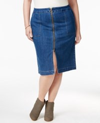 Styleandco. Style Co. Plus Size Zip Front Lake Wash Denim Skirt Only At Macy's