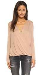 Lanston Surplice Long Sleeve Top Camel