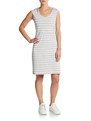 Marc New York By Andrew Marc Performance Striped Hooded Dress Light Heather Grey