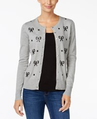 Charter Club Petite Sequinned Bow Cardigan Only At Macy's Heather Platinum