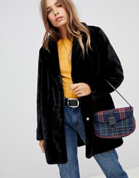 New Look Coat With Faux Fur In Black Black