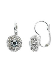 Monet Rhodium Pave Crystal Leverback Earrings N A N A