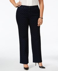 Charter Club Plus Size Lexington Flocked Straight Leg Jeans Only At Macy's Medium Rinse Combo