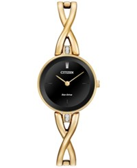 Citizen Women's Eco Drive Gold Tone Stainless Steel Bangle Bracelet Watch 23Mm Ex1422 54E