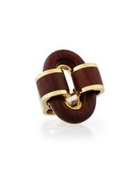 18K Gold Heartwood Buckle Ring David Webb