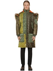 Moschino Long Quilted Patchwork Parka Green