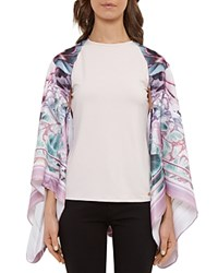 Ted Baker Illuminated Bloom Scarf Cape Nude Pink