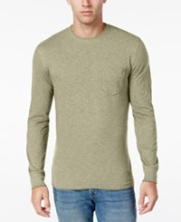 Club Room Men's Long Sleeve Pocket T Shirt Only At Macy's Toasted Beige