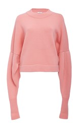 Tibi Drop Shoulder Crop Sweater Pink