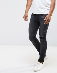 Religion Biker Jean With Rip Repair Knee Detail In Skinny Fit With Stretch Black