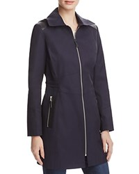 Via Spiga Infinity Faux Leather Trimmed Raincoat Navy