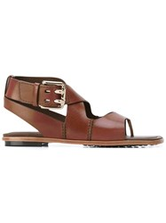 Tod's Crisscross Strap Sandals Women Leather Rubber 36.5 Brown