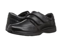 Hush Puppies Luthar Henson Black Leather Hook And Loop Shoes