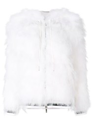 Thom Browne Marabou Feather Zip Up Hoodie White