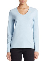 Lord And Taylor Stretch Cotton V Neck Tee Cool Blue Heather
