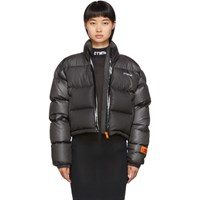 Heron Preston Grey Down Cropped Puffer Jacket