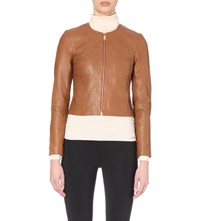 Ted Baker Collarless Leather Jacket Tan