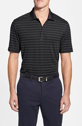 Cutter And Buck Men's Big Tall 'Franklin' Stripe Drytec Polo Black White