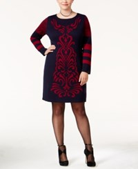 Ny Collection Plus Size Jacquard Sweater Dress Red Navy