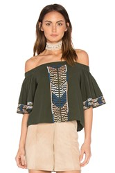 Piper Bogo Off The Shoulder Top Dark Green