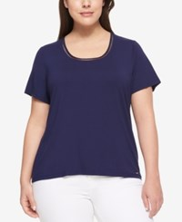 Tommy Hilfiger Plus Size Short Sleeve Top Navy