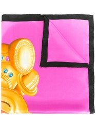 Moschino Bear Print Scarf Pink Purple