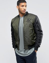 Sik Silk Siksilk Bomber Jacket With Contrast Sleeves Khaki Black Green
