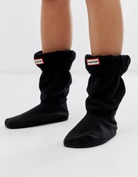 Hunter Cable Stitch Short Boot Socks Black