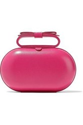 Red V Bow Embellished Leather Clutch Fuchsia