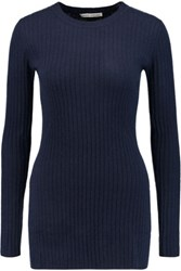 Autumn Cashmere Ribbed Sweater Navy