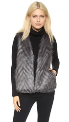 Bb Dakota Duda Faux Fur Vest Grey Multi