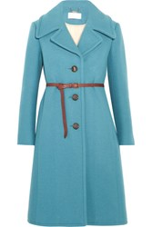 Chloe Iconic Belted Wool Blend Coat Blue