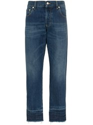 Alexander Mcqueen Slim Fit Distressed Cropped Jeans Blue
