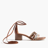 Madewell The Rosalind Ankle Wrap Sandal Light Silver Multi