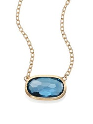 Marco Bicego Delicati London Blue Topaz And 18K Yellow Gold Pendant Necklace