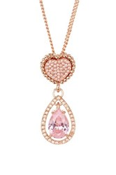 Betsey Johnson Cz Heart Double Drop Necklace Pink