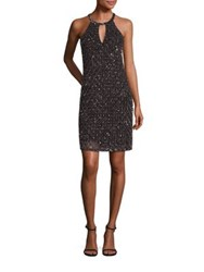 Parker Black Sansa Silk Embellished Halter Dress Silver Black